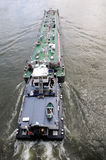 Barge at Rhine. Cargo Boat on the River Rhine Stock Photos