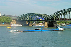 Barge on the Rhine - Cologne - Germany Stock Photos