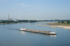 Barge on Rhine river Royalty Free Stock Photos