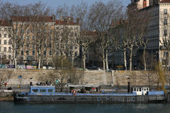 Barge on Rhone river Stock Photos