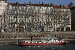 Barge on Rhone river Royalty Free Stock Photo