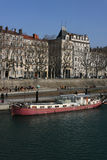 Barge on Rhone river Royalty Free Stock Photos