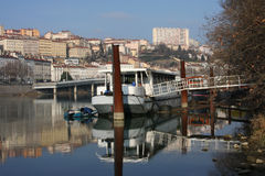 Barge on Rhone river in Lyon Stock Images