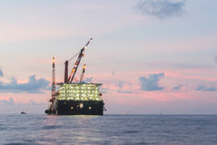 Barge rig platform of oil and gas industry Stock Photo