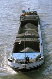 Barge on a river. Viewed from above Stock Photos