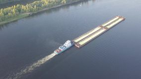 Barge river aerial stock video