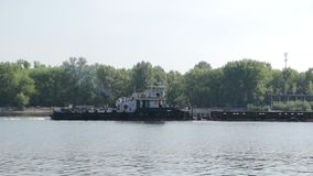 Barge on the River stock video footage