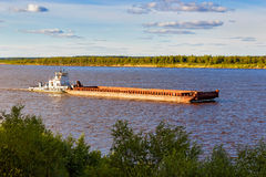 Barge on river Royalty Free Stock Photography
