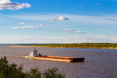 Barge on river Royalty Free Stock Photo