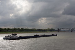 Barge on the river Rhine in Cologne Royalty Free Stock Images
