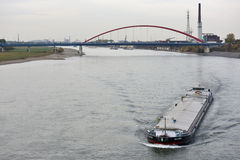 Barge on the river Rhine, Germany Royalty Free Stock Image