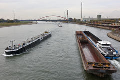 Barge on the river Rhine, Germany Royalty Free Stock Photos