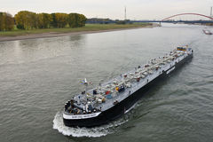 Barge on the river Rhine, Germany Stock Photos