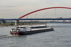 Barge on the river Rhine, Germany Royalty Free Stock Images