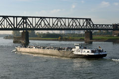 Barge on the river Rhine Royalty Free Stock Photography