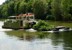 Barge on the river am river Neckar Royalty Free Stock Photography