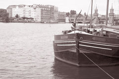 Barge on River Spree Embankment in Friedrichshain Neighbourhood, Royalty Free Stock Photos