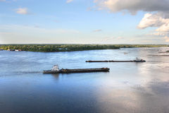Barge on the river. Barge on the Volga river Royalty Free Stock Image