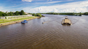 Barge on the river Volkhov in Veliky Novgorod, Russia Stock Photos