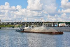 Barge with sand freight Stock Images