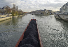 Barge on the Seine. Paris, France. Stock Photos