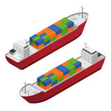 Barge Set Isometric View. Vector. Barge Ship Set with Color Freight Containers Isometric View Concept Cargo Transportation. Vector illustration Royalty Free Stock Photos