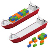 Barge Set Isometric View. Vector. Barge Ship Set and Part Set Color Freight Containers Isometric View Concept Cargo Transportation. Vector illustration Royalty Free Stock Images