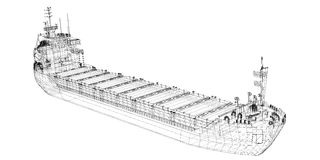 Barge , ship. Barge Cargo  model body structure, wire model Royalty Free Stock Photos