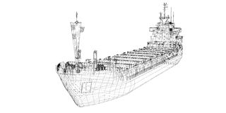 Barge , ship. Barge Cargo  model body structure, wire model Royalty Free Stock Images