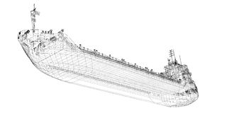 Barge , ship. Barge Cargo  model body structure, wire model Stock Photography