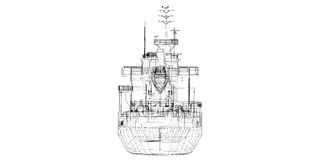 Barge , ship. Barge Cargo  model body structure, wire model Royalty Free Stock Photography
