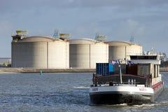Barge ship oil silo Royalty Free Stock Photos