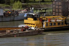 A barge on river Sava stock image