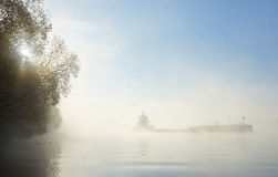 Barge ship in thick fog Royalty Free Stock Photography