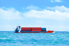Barge ship transportation, containers cargo. Royalty Free Stock Photography