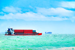 Barge ship transportation, containers cargo. Royalty Free Stock Image