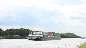 Barge with shipping containers stock video