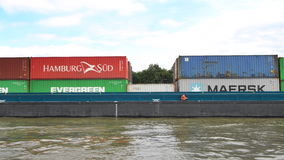 Barge with shipping containers stock video footage