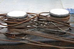 Barge Steel Cables Stock Photo