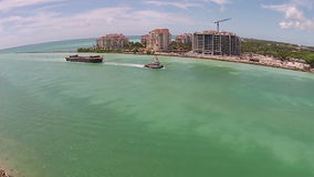Barge towed into the Port of Miami aerial view stock video footage