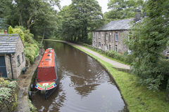 Barge and towpath from bridge Royalty Free Stock Image
