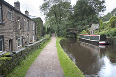 Barge and towpath Royalty Free Stock Images