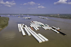 Barge tows on Mississippi River Royalty Free Stock Photo