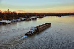 Barge transporting sand. On river Sava ,Belgrade ,Serbia Royalty Free Stock Photos