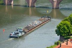 Barge transports waste Stock Image
