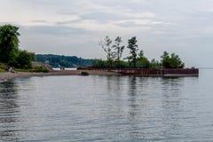 Barge with trees, Lake Erie Ohio stock photos