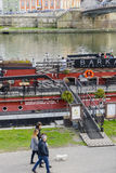 Barge on Vistula River. royalty free stock images
