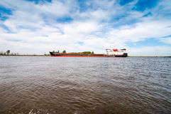 Barge on Volga Stock Photography
