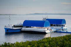 Barge on the Volga River on an overcast day day.  Royalty Free Stock Photography