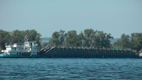 Barge at the Volga river stock video